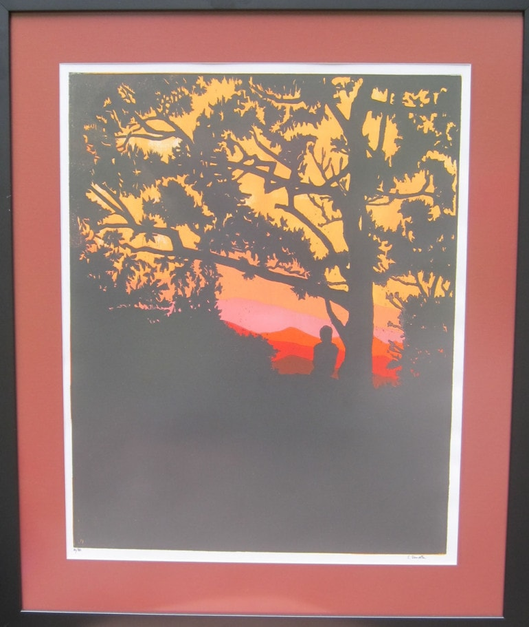 Hiker at Sunset -Reds- Framed